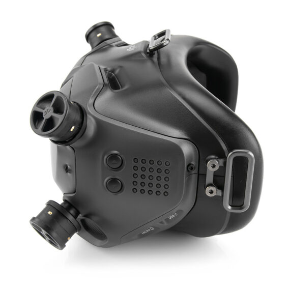 Sideview of DJI FPV Goggles with Duality Stubby antennas