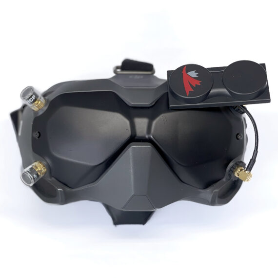 DJI FPV Goggle headset with X-Air 5.8 MK II and two clear Singularity Stubby antennas