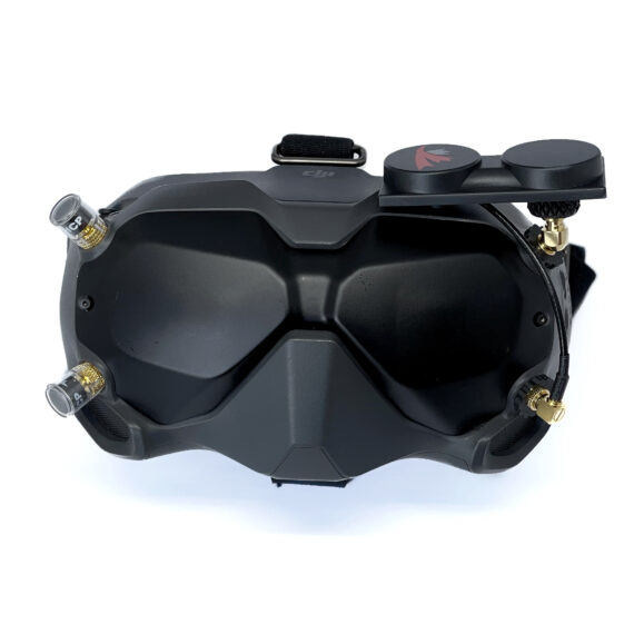 DJI FPV Goggle headset with X-Air 5.8 MK II and clear Singularity Stubby antennas
