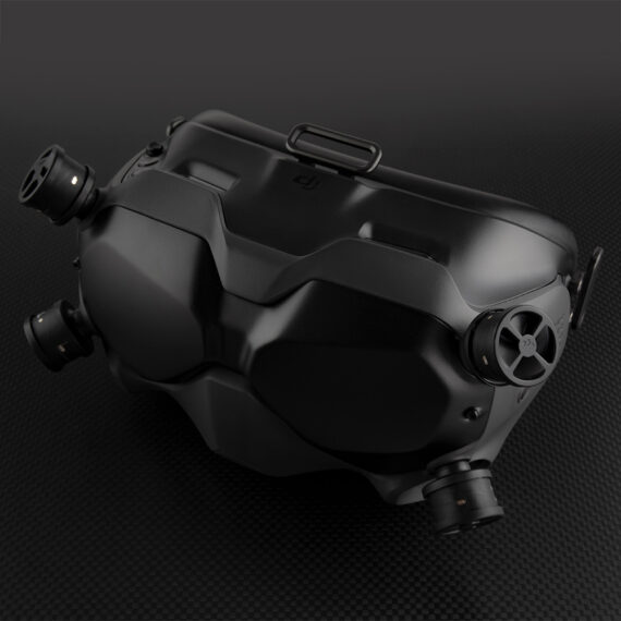 Overview of DJI FPV Goggles with Duality Stubby antennas on dark background